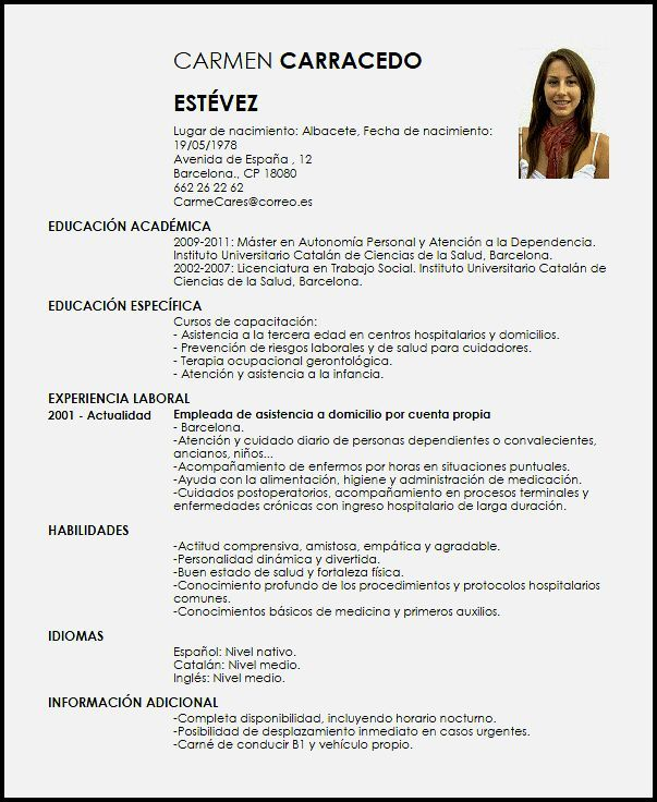 Modelos En Espanol De Curriculum Vitae Curriculum Vitae