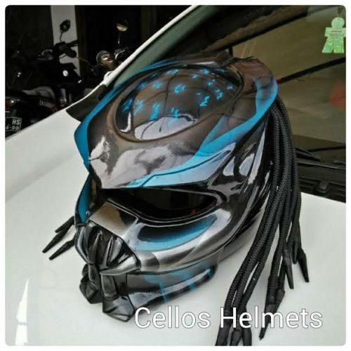 PREDATOR HELMET STREETFIGHTER BLUE COLOR - DOT APPROVED SIZE M-L-XL-XXL #HandMade #Motorcycle