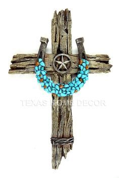 Turquoise Horseshoe Star Decorative Wall Cross Faux Wood Barbed Wire Decor #WallDecor