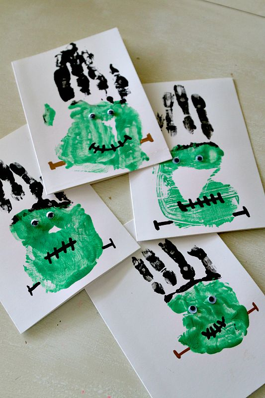 Halloween Frankenstein Handprint Craft for Cards, Bags, and more! Toddler and Preschool DIY Painting Fun