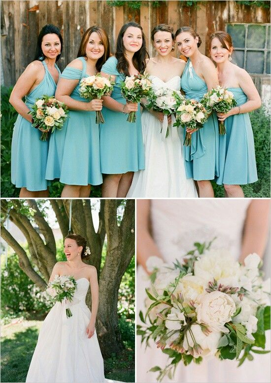 I really love the idea of having tea length bridesmaid dresses that are the same color but different styles and cuts to compliment the girls