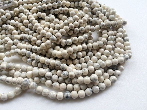 WHOLESALE 5 Strands Howlite Plain Round Beads by gemsforjewels