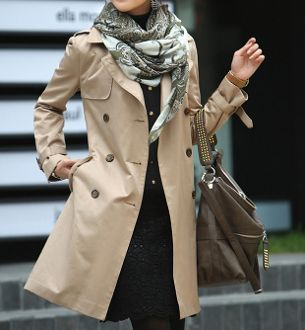 Women Double Breasted Khaki Trench Coat. Material : Polyester / Cotton Blend Color : Khaki Size : S , M S Shoulder : 39 cm / 15 in - Length : 84 cm / 33 in Chest : 96 cm / 37 in - Sleeve : 59 cm / 23
