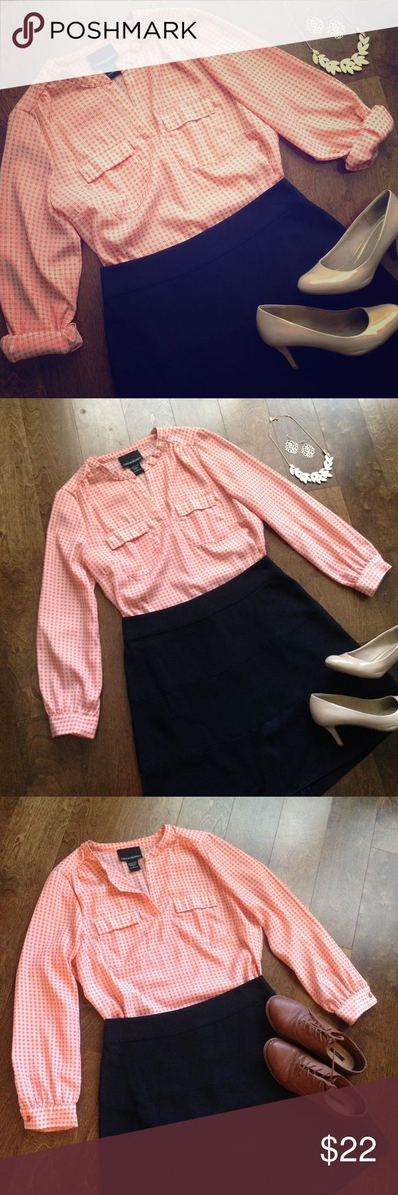 Cynthia Rowley Orange Blouse Great for the office or going out! Perfect for Clemson or Auburn game day!! Cynthia Rowley Tops