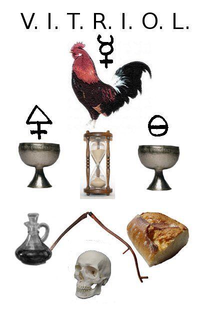 Coq est le symbole alchimique du Vitriol, formé par la cuisson du sel et du soufre.