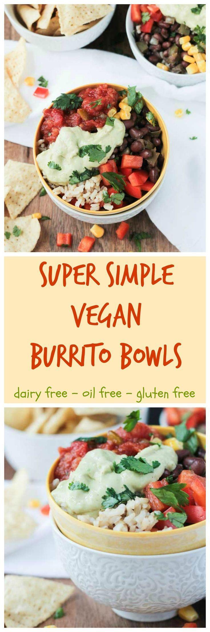 Super Simple Vegan Burrito Bowl - vegan   dairy free   oil free   gluten free   quick and easy   black beans   red pepper   avocado   brown rice   cilantro