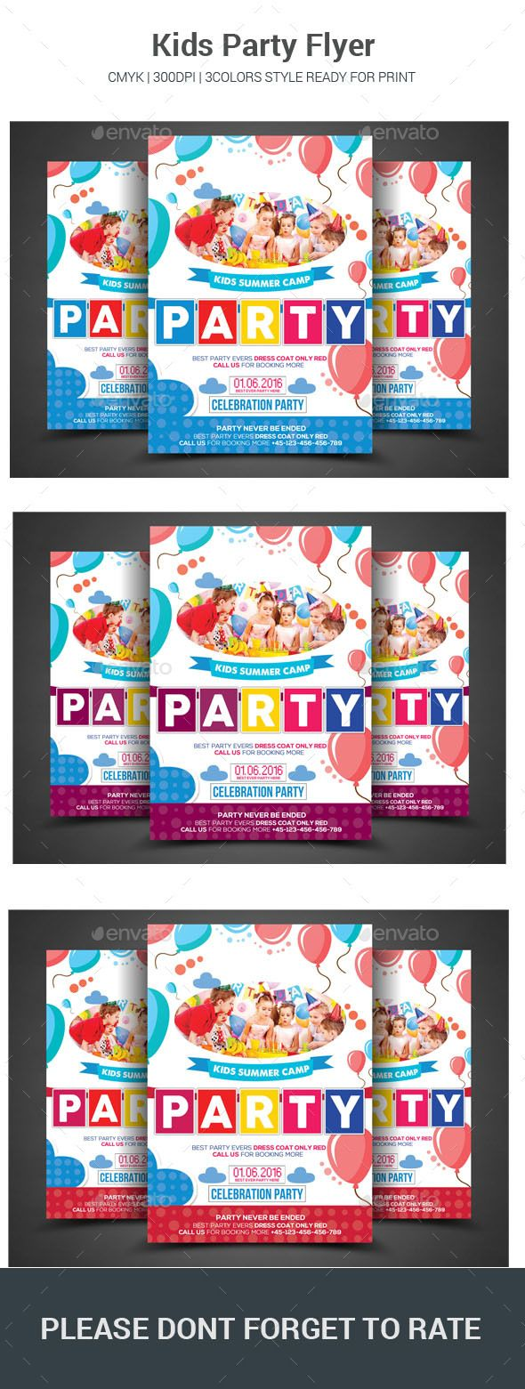 Kids Party Flyer  - Event Flyer Template PSD. Download here: graphicriver.net/.....