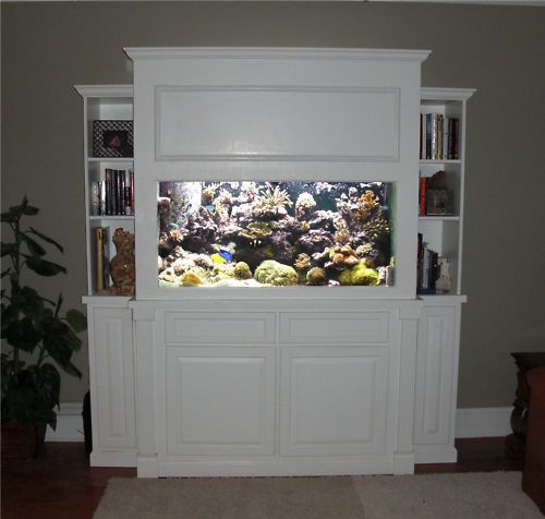 How to build a fish aquarium canopy woodworking projects for Bookshelf fish tank