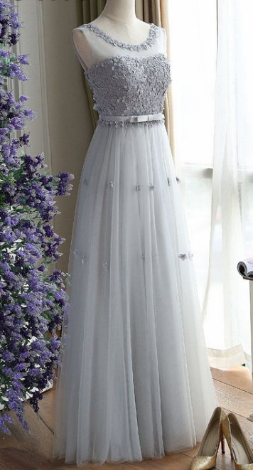 Grey Prom Dresses, Long Prom Dresses, Charming Gray A Line Tulle Long Floral Simple Sleeveless Long Prom Dress WF01-498 – Brittney August