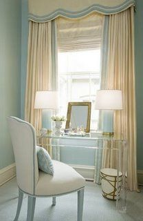 Pretty desk area in blue and cream with detailed valance #blueandcream #windowtreatments