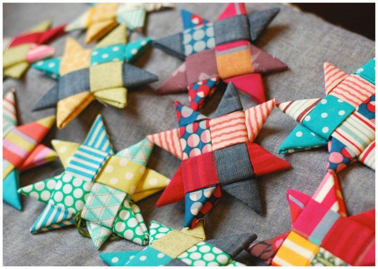 Scandinavian Fabric Stars Scrap Fabric Crafts Scandinavian Fabric Fabric Crafts