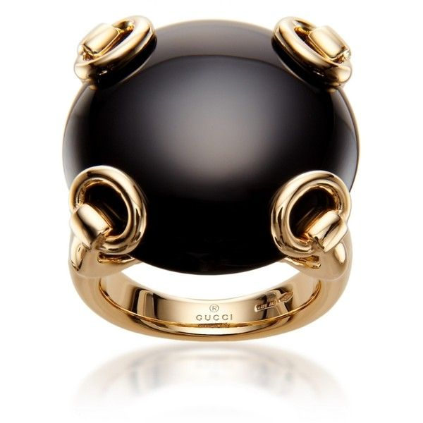 Superb Gucci Gold u Onyx Horsebit Cocktail Ring uac found on Polyvore