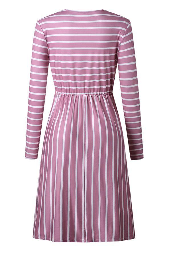 b3738c02bc99 Long Sleeve Crew Neck Front Pocket Loose Striped Midi Dress Pink ...
