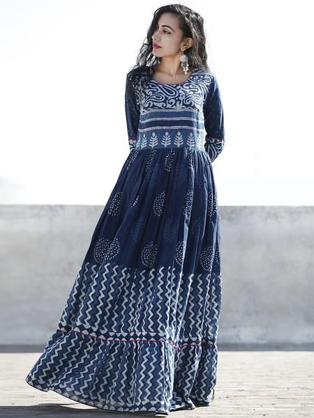 c8a35aa8d3 Indigo White Hand Blocked Cotton Long Dress With Highlighted Neck - DS46F001