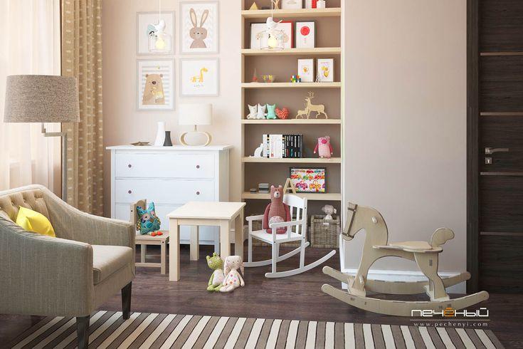 Дизайн интерьера детской для мальчика или девочки в стиле неоклассика в трехкомнатной квартире. Бежевый, коричневый.