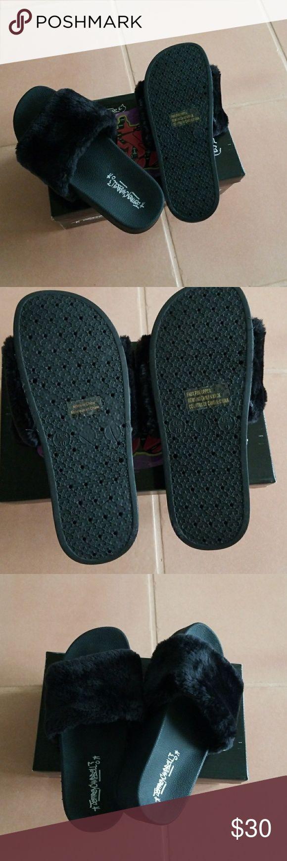 Jeffrey Campbell Lucky Me Platform Faux Fur slides Sporty Jeffrey Campbell slides with a plush faux-fur vamp. Cracked footbed and platform. Rubber sole. Jeffrey Campbell Shoes