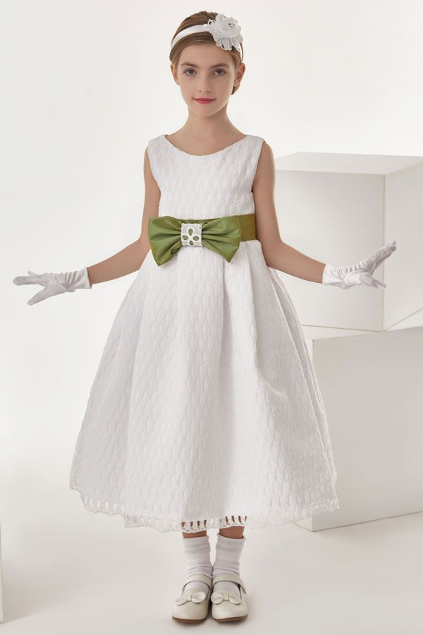 Ball Gown Bow(S) Sleeveless Empire Communion Dress