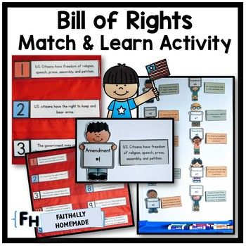 Students will enjoy learning the U.S. Constitution Bill of Rights with this matching activity.  Using a pocket chart, magnets on a whiteboard, baskets, or just a desk, students will match the amendment number with its substance.  This activity provides great hands-on memory practice. ---> Watch this video HERE to see ideas on how to use this activity.What You Get:- 10 Amendment Word Cards.- 10 Amendment Matching Kid Cards- 10 Amendment Strip Cards- 1 Bill of Rights PosterSAVE!!