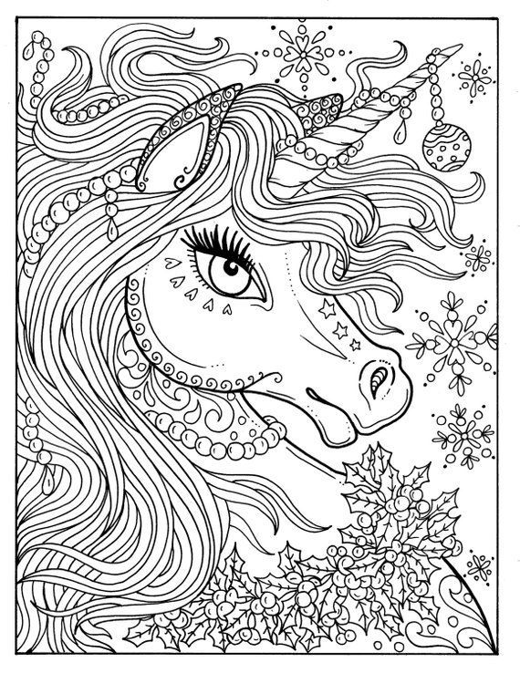 Unicorn Christmas Coloring Page Adult Color Book Art Fantasy