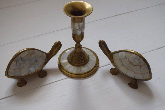 Trio zware Solid Brass moeder parel Capiz schelp schildpad ornamenten en Candle Stick