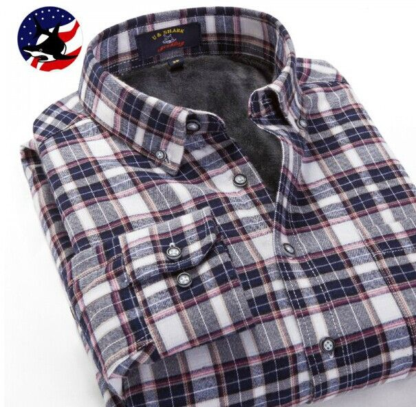 Mens Fleece Plaid Shirts Flannel Black Checkered Shirts Casual Men Clothing Winter Long Sleeve Velvet Checks Shirts Male