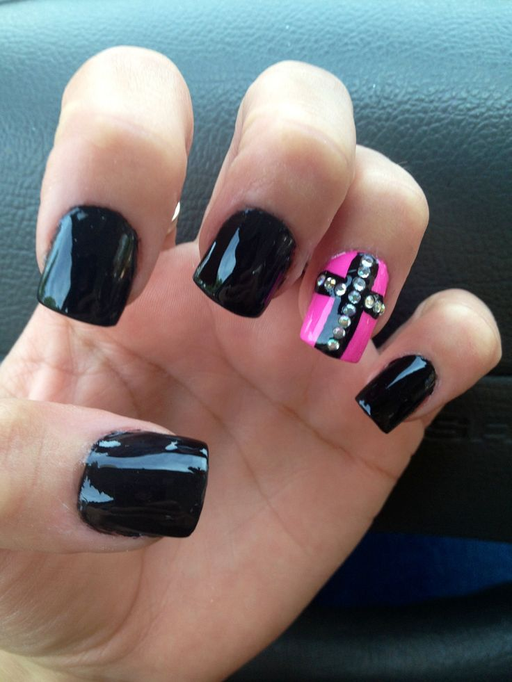 Cross nails black loveee!! lets make the polish with the cross on it black and gold instead of black and pink and I'm set!