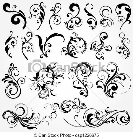 Stock Illustration - floral design elements - stock illustration, royalty free illustrations, stock clip art icon, stock clipart icons, logo, line art, pictures, graphic, graphics, drawing, drawings, artwork