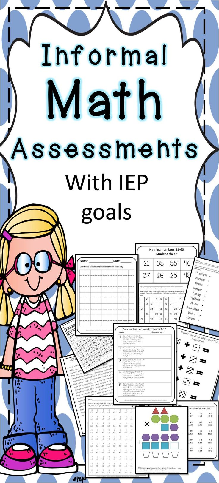 math assessments great for Back to school academic measuring.  These assessments are great for progress monitoring of IEP students and RTI.  Great way to get your interventions started.