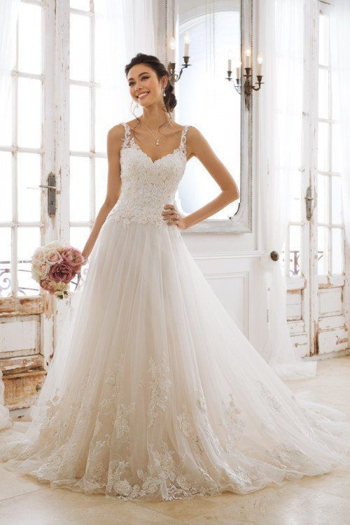 4b72d857af A-line wedding dress idea - romantic + whimsical wedding dress with lace  and 3D applique details. Style Y11877 Pegasus by Sophia Tolli.
