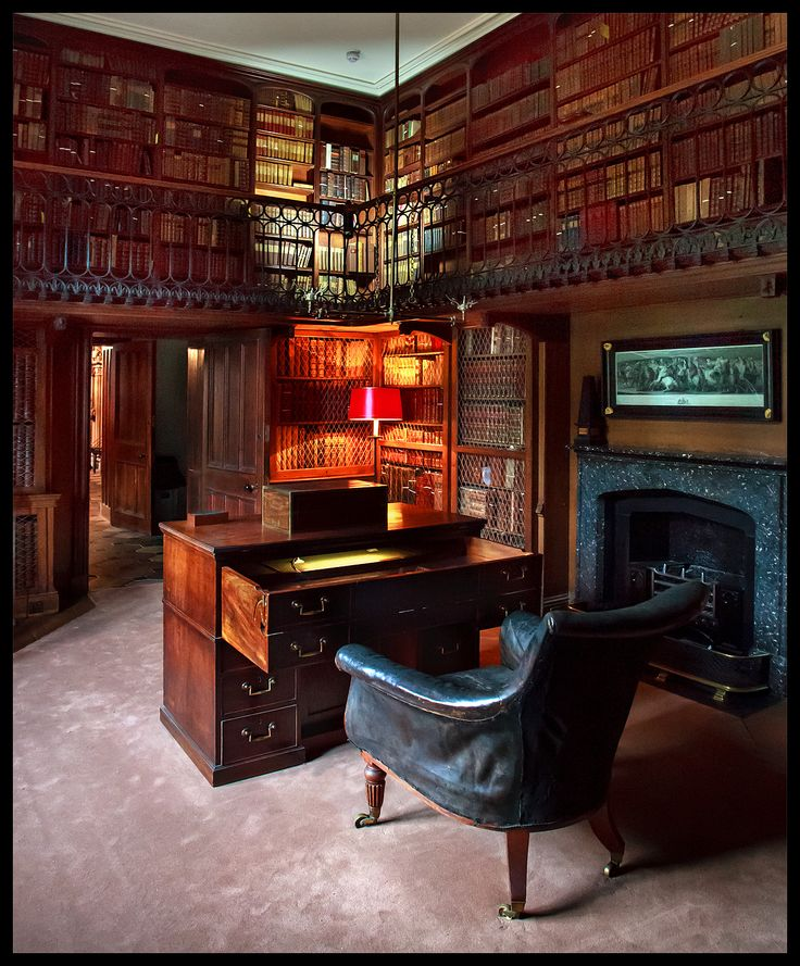The Study at Abbotsford House, Galashiels, Scotland. Abbotsford was the home of Sir Walter Scott and the Study was designed as his private sanctum. Scott's later novels were written in this room.
