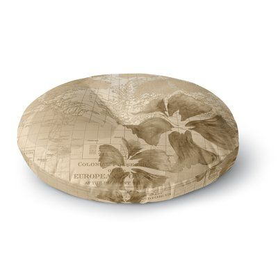 "East Urban Home Catherine Holcombe Flower Power Map Round Floor Pillow Size: 23"" x 23"", Color: Beige"