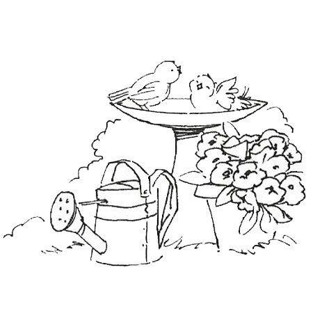 Bird Bath Coloring Sheet