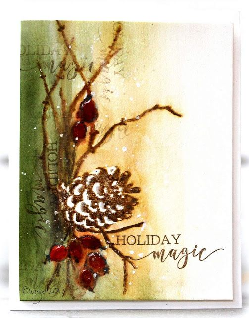 My card made for the challenge at Paper Players blog this week!        I used these stamps from Penny Black   Cones & Berries   Full of Mer...