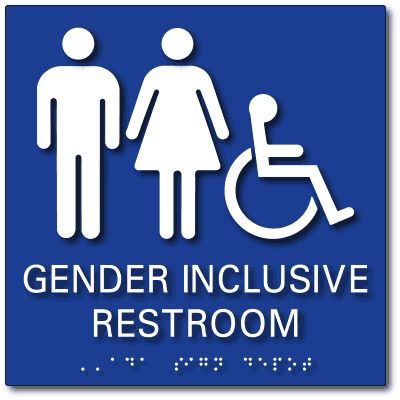 "From ADA Sign Depot | Gender Inclusive Accessible Restroom Tactile Braille ADA Signs - 9"" x 9"""