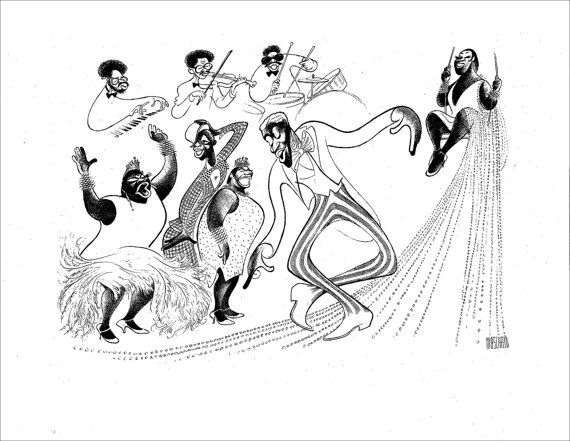 BLACK AND BLUE, Hand Signed by Al Hirschfeld, Limited Edition, Ruth Brown, Bunny Briggs, Linda Hopkins, Jimmy Slyde, and Carrie Smith