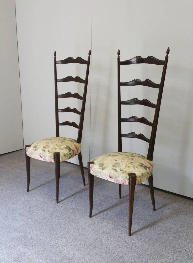 PAIR PAOLO BUFFA Ladder Back Chairs - Italy - Mid Century - Hollywood Regency - Very Rar - 50's von uwdesignstudio auf Etsy