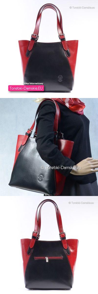 Czarno-czerwona skórzana włoska torebka damska - mieści A4, do noszenia na ramieniu lub w ręku za uchwyty, dodatkowy długi pasek do przewieszenia w komplecie z torbą