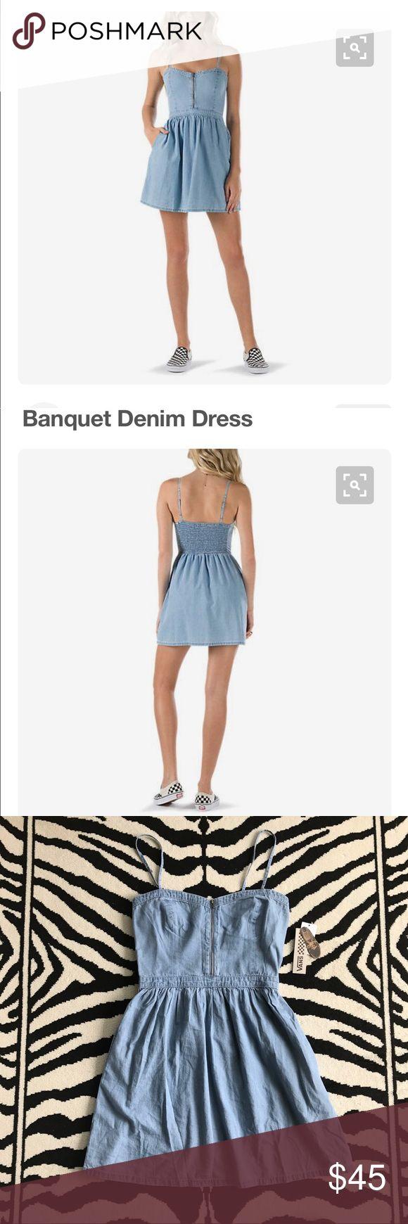 Festival • Denim Dress Vans Banquet Denim Dress. The Banquet dress is 100% cotton lightweight denim fit and flare dress with a front zipper, smocking at the back and side pockets. Color: Light Indigo Vans Dresses Mini