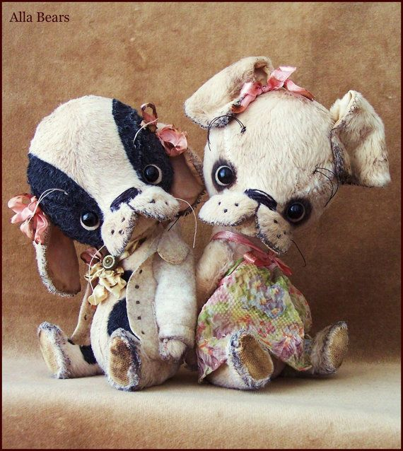 by Alla Bears original artist Vintage Puppy dog stuffed Antique hand made toy art doll girl gift pet baby Spring Summer home decor OOAK cute