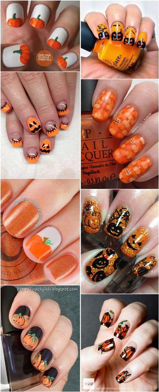 nice 20 Halloween Pumpkin Nail Art Desgins