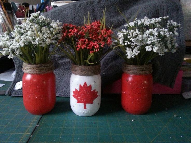 Mason Jar Canadian Flag