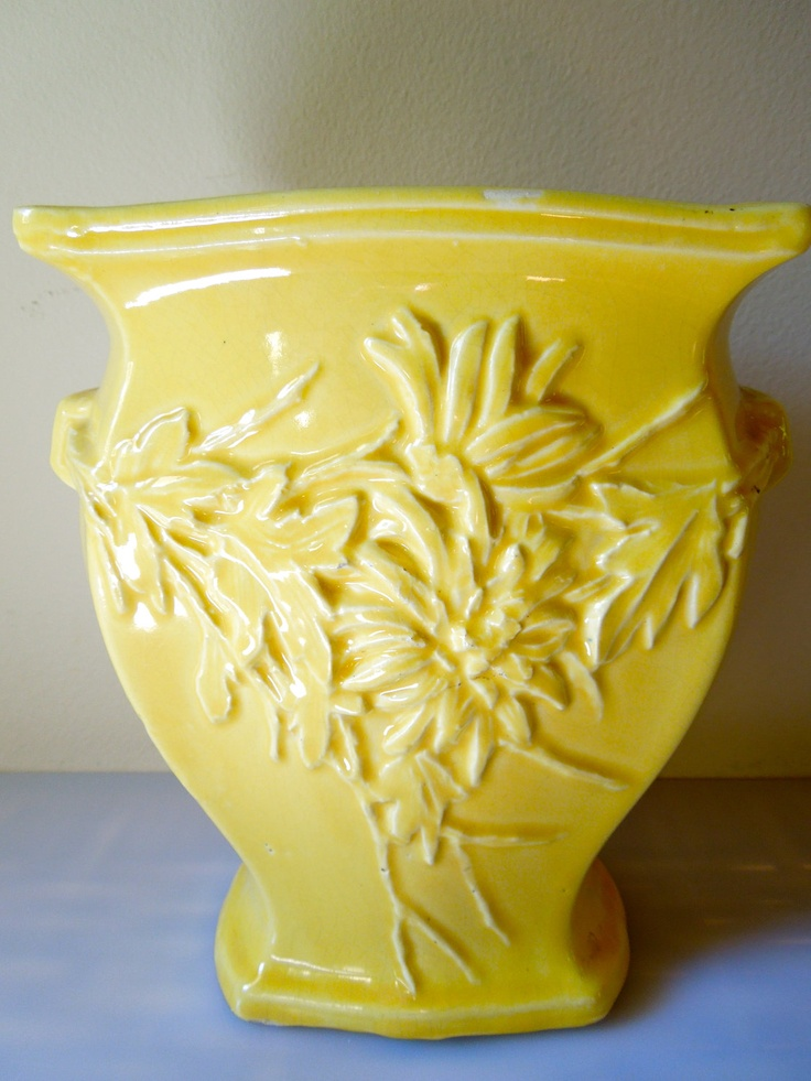 vintage yellow mccoy wide vase by stuartroadvintage on Etsy