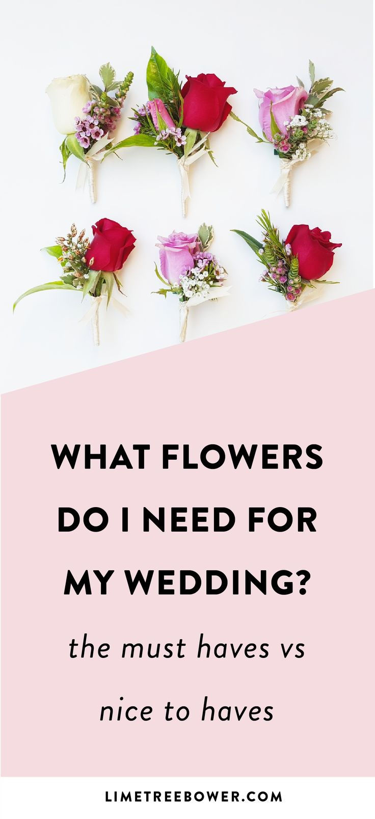 List of flowers you'll need or want for your wedding. Don't miss out on anything with this FREE checklist! | Lime Tree Bower