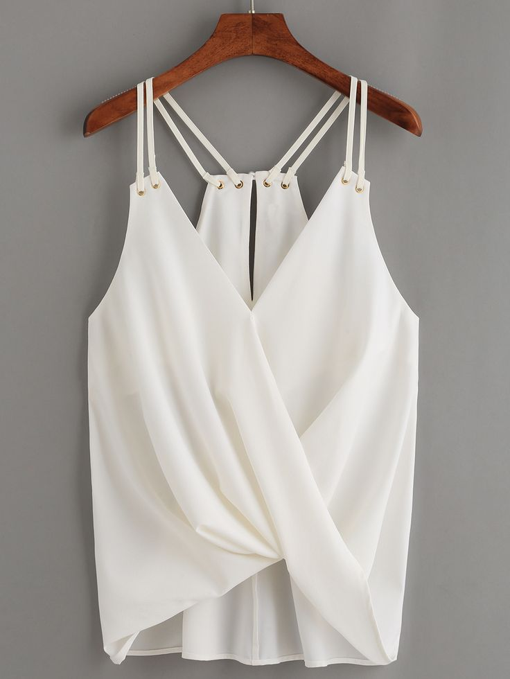 Shop White Keyhole Racerback Draped Strappy Cami Top online. SheIn offers White…