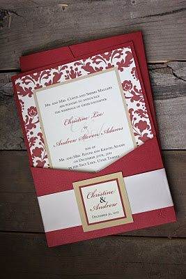 Cranberry and Ivory Wedding invitations | Cranberry Red, Gold & Ivory Invite. By: PolkaDotsandDaisies.com.