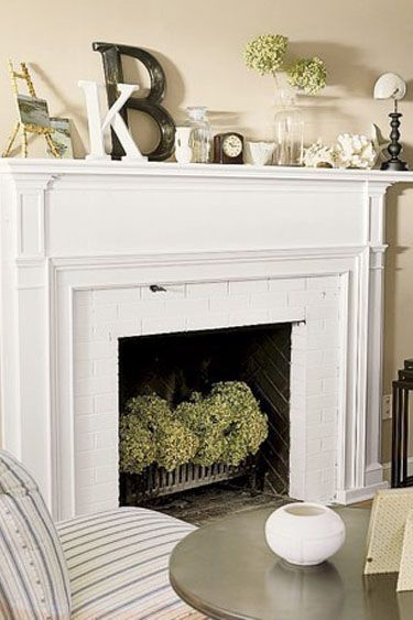 Love the mantle decor and fireplace hydrangeas- for faux fireplace