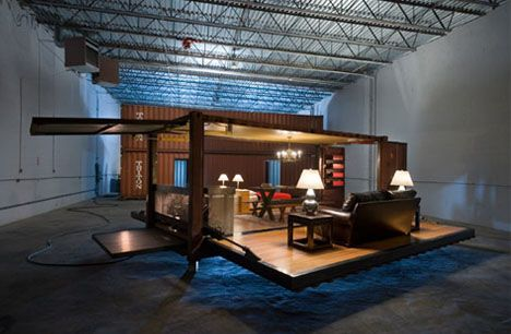 Hidden inside a steel cargo container, rusted from a life of shipping at sea, lies a secret luxury home layout that unfolds at the push of a button – opening like an ocean clam to reveal a fully-furnished set of floor plans – as precious and surprising as a perfect pearl.
