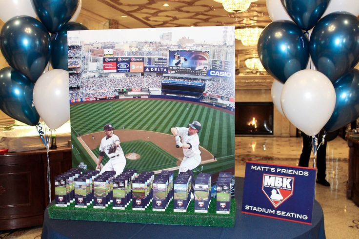 Yankee Stadium Seating Card Display Baseball Themed Bar Mitzvah Display with Stadium Ticket Place Cards