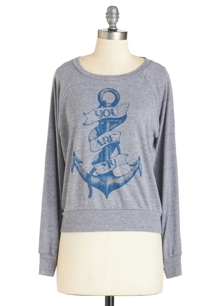 Look, Line, and Sinker Sweatshirt. Youre head over heels for this grey, ModCloth-exclusive sweatshirt, and its no wonder why! #grey #modcloth