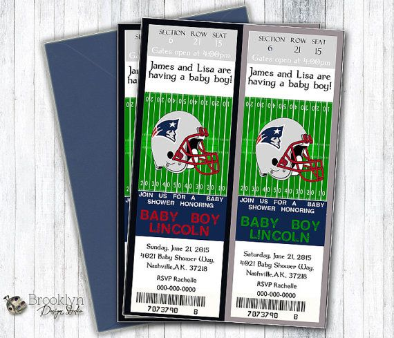 This is a custom Football Baby Shower Event Ticket Invitation - Shown is the Patriots Baby Shower themed invitation design but can be changed to any team! Impress your family and friends with this one of a kind custom designed Party Invitation! It  ► BUYING OPTIONS - CHOOSE:  ►► Printable Invitation that will be emailed to you within 24-72 hours and you print yourself from home or any photo printing - Walgreens, Staples, Office Depot, etc etc  - - OR - -  ►► Have us print and ship to you…